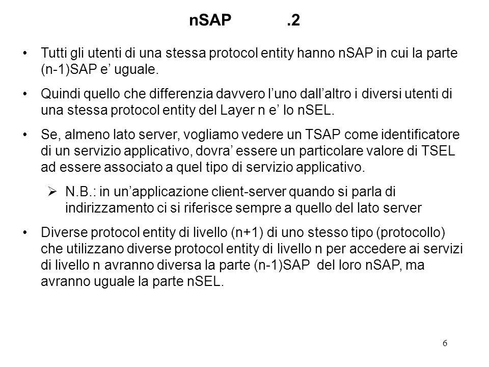 7 nSAP.3 Esempio 1: Due diverse istanze di protocol entity IP su macchine diverse, con diverse interfacce Ethernet, avranno diverso MAC address ma uguale DlSEL (selettore di DataLink, 2SEL) Due diverse istanze di protocol entity TCP su macchine diverse avranno diverso indirizzo IP ma uguale NSEL (selettore di Rete, 3SEL) N.B.
