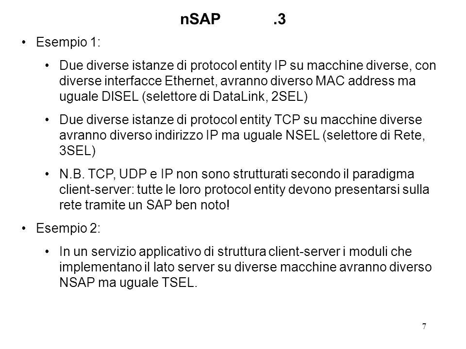 8 TSAP, processi, servizi Perche lo schema funzioni occorre che ci sia una relazione ben nota tra un TSAP e un servizio: Comunque i clienti sono interessati ai servizi, non ai TSAP.