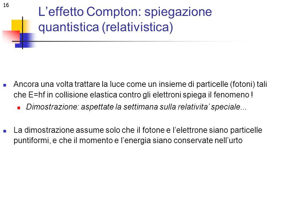16 Leffetto Compton: spiegazione quantistica (relativistica) Ancora una volta trattare la luce come un insieme di particelle (fotoni) tali che E=hf in