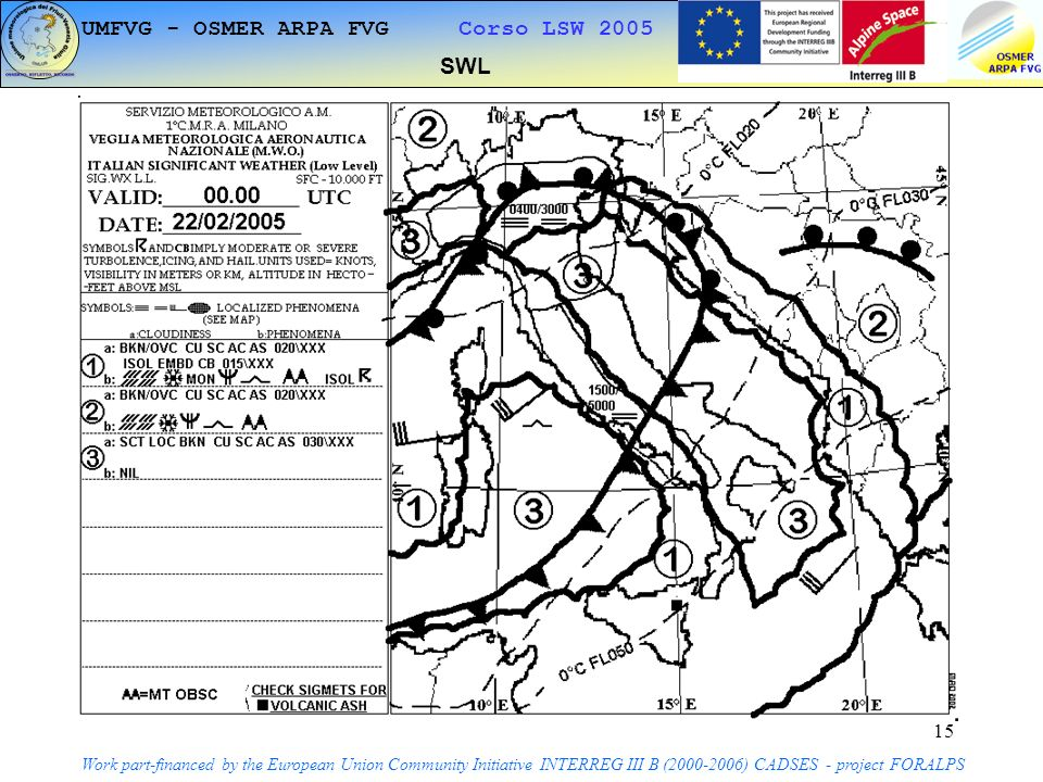 15 SWL Work part-financed by the European Union Community Initiative INTERREG III B ( ) CADSES - project FORALPS UMFVG - OSMER ARPA FVG Corso LSW 2005