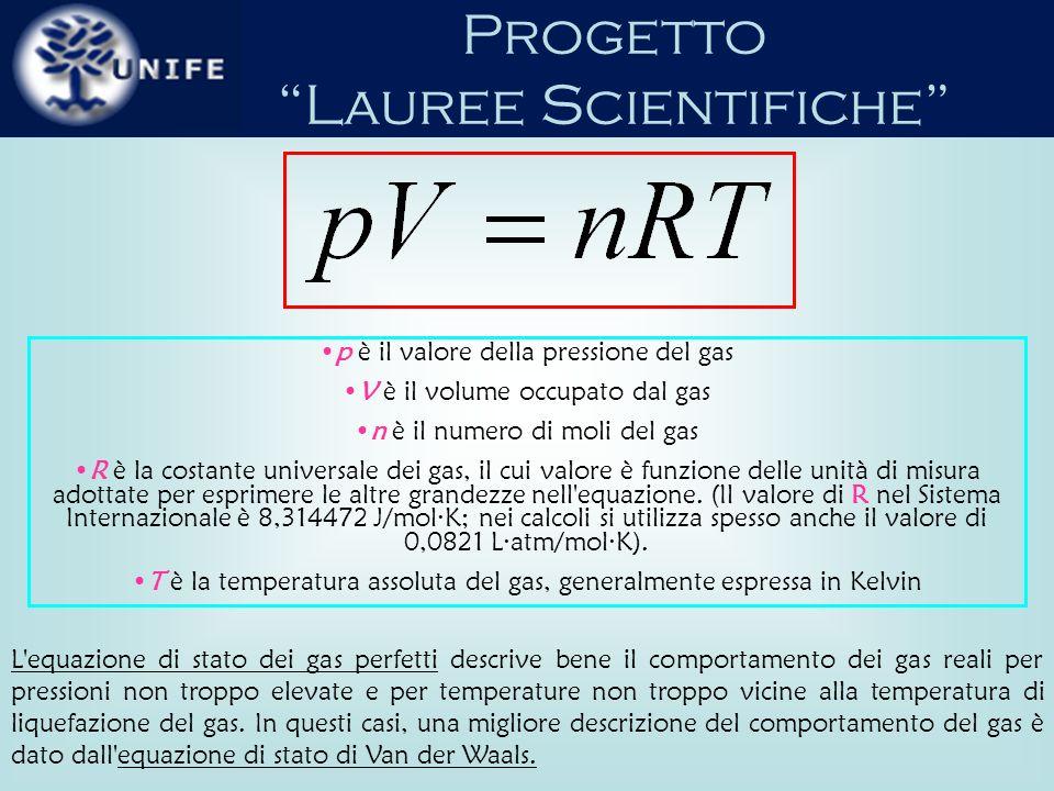 Progetto Lauree Scientifiche La legge di Van der Waals è una legge fisica che descrive il comportamento dei gas.
