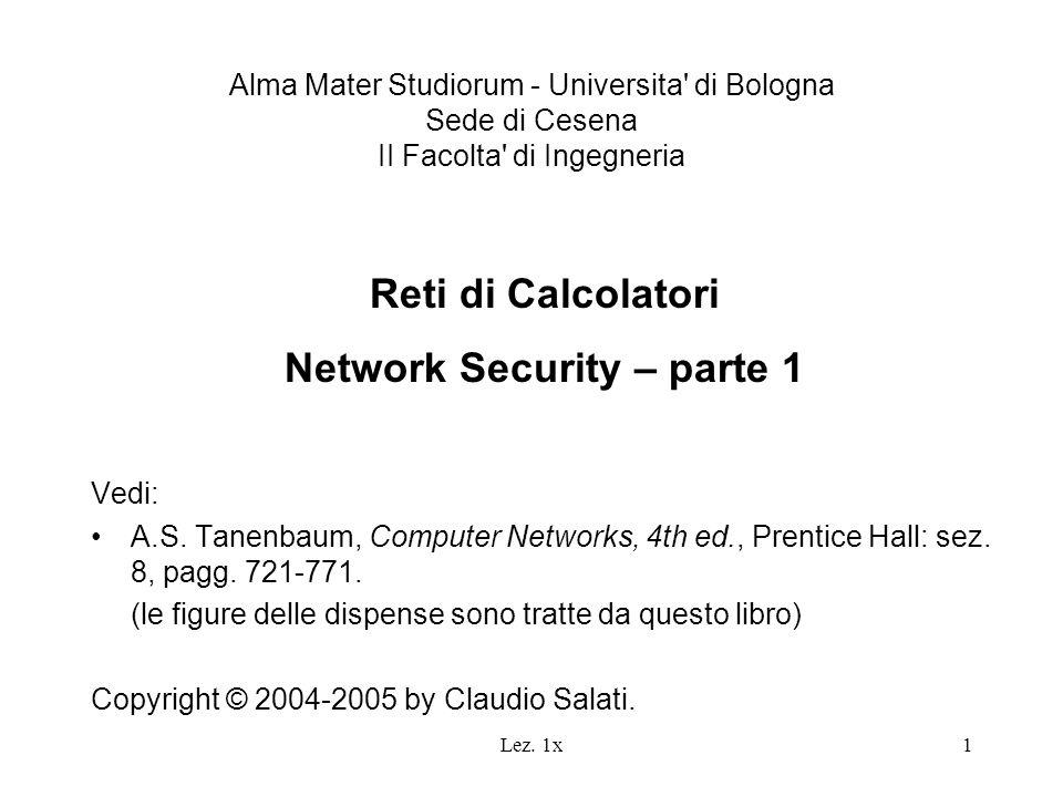 Lez. 1x1 Alma Mater Studiorum - Universita' di Bologna Sede di Cesena II Facolta' di Ingegneria Reti di Calcolatori Network Security – parte 1 Vedi: A