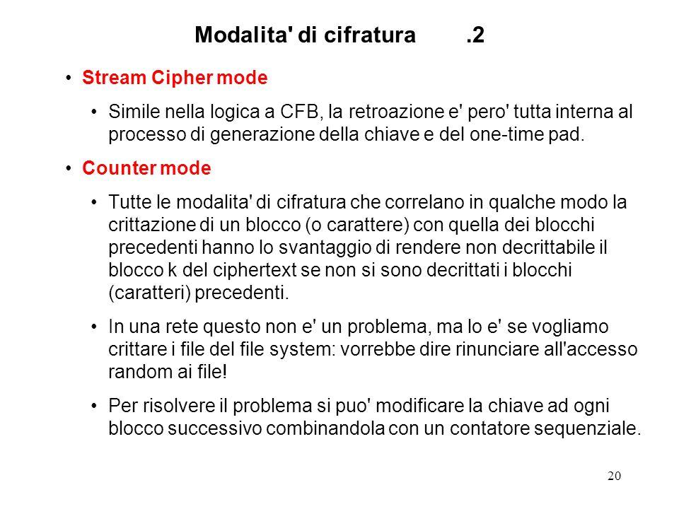20 Modalita' di cifratura.2 Stream Cipher mode Simile nella logica a CFB, la retroazione e' pero' tutta interna al processo di generazione della chiav