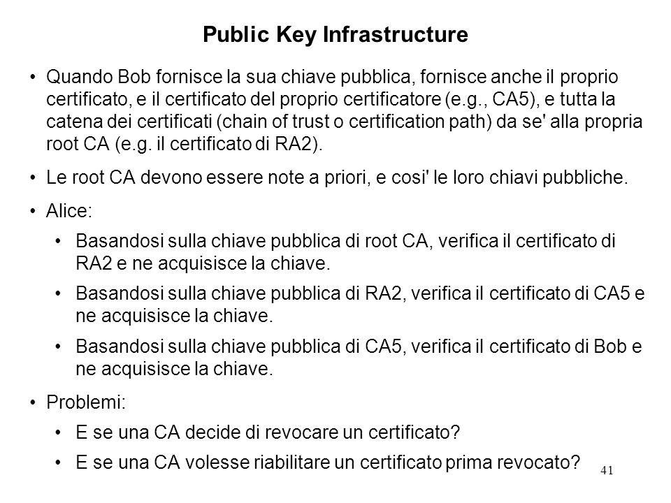 41 Quando Bob fornisce la sua chiave pubblica, fornisce anche il proprio certificato, e il certificato del proprio certificatore (e.g., CA5), e tutta