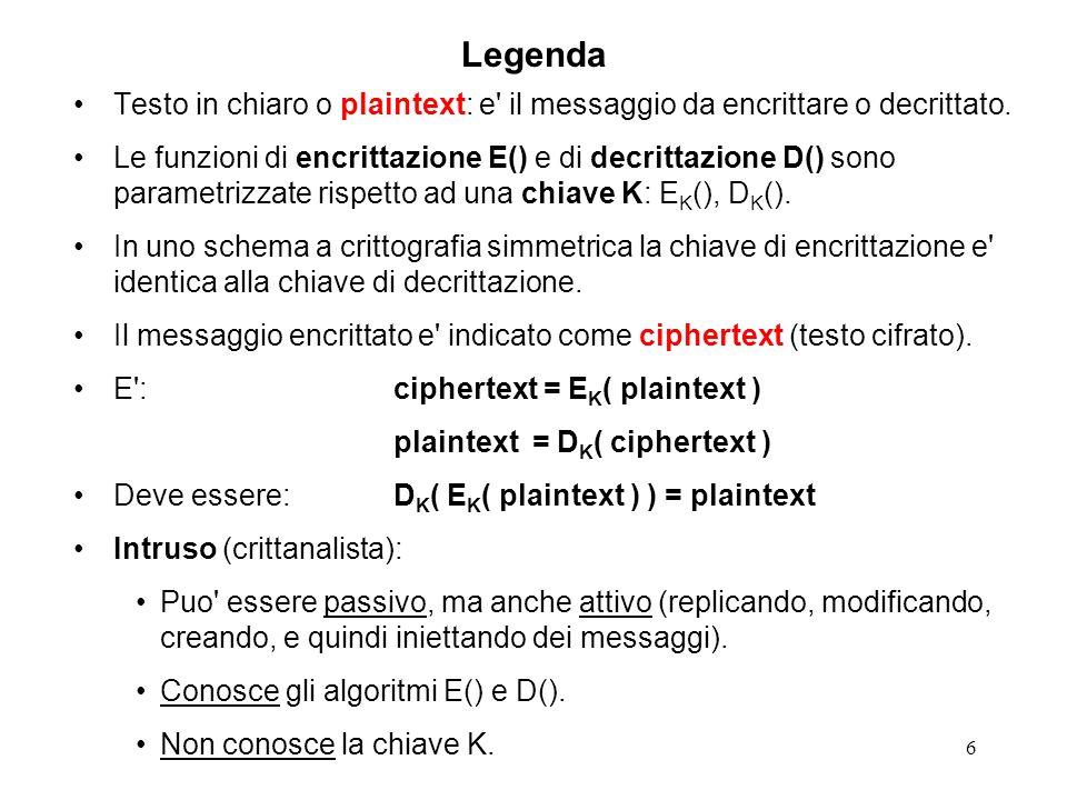 6 Legenda Testo in chiaro o plaintext: e' il messaggio da encrittare o decrittato. Le funzioni di encrittazione E() e di decrittazione D() sono parame
