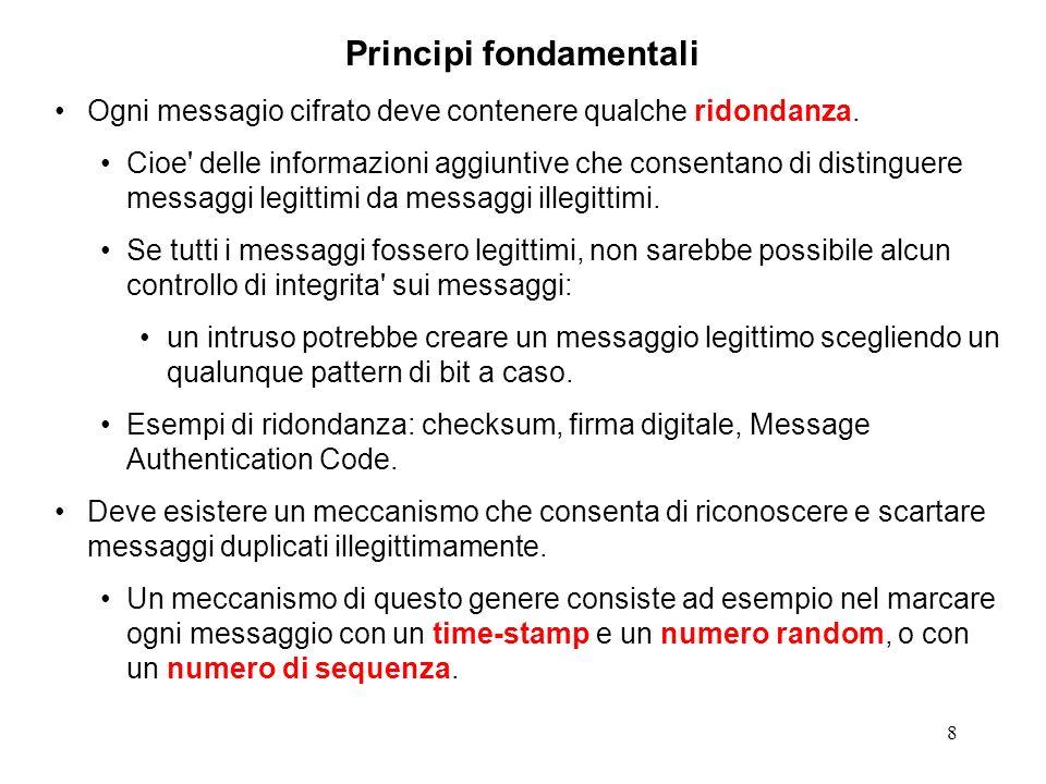 8 Principi fondamentali Ogni messagio cifrato deve contenere qualche ridondanza. Cioe' delle informazioni aggiuntive che consentano di distinguere mes