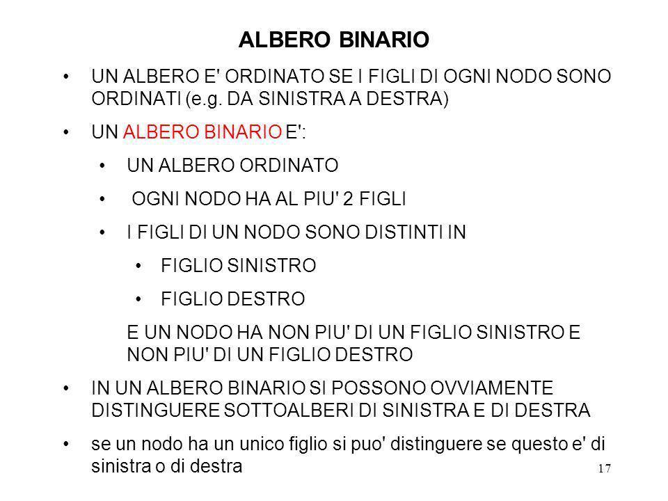 17 ALBERO BINARIO UN ALBERO E ORDINATO SE I FIGLI DI OGNI NODO SONO ORDINATI (e.g.