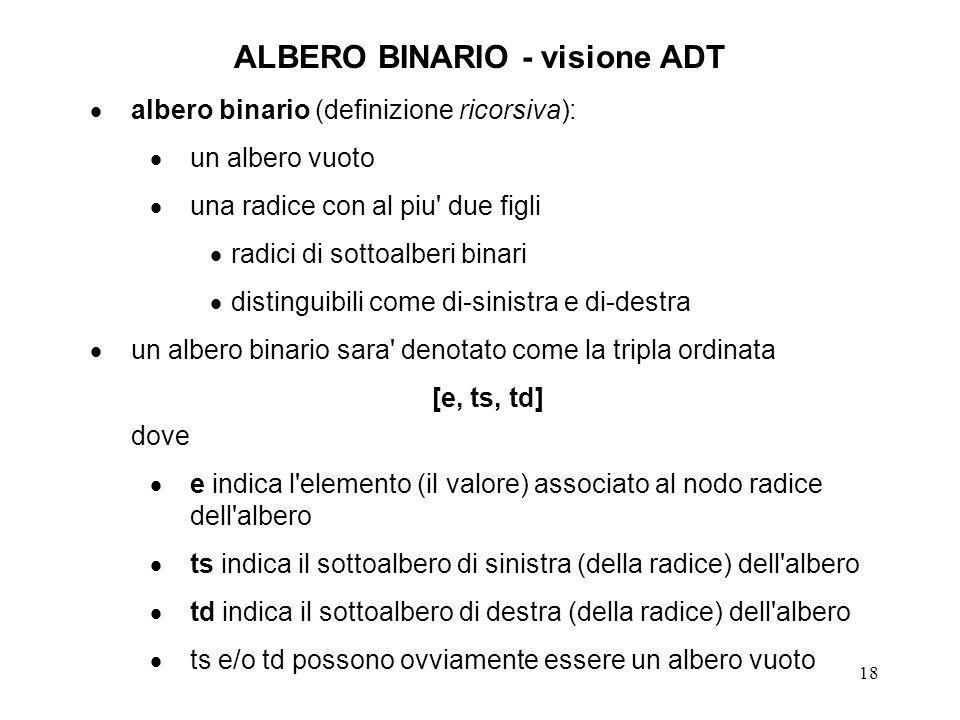 19 ALBERO BINARIO - visione ADT operazioni primitive sull ADT albero binario: costruttori NULL o EMPTYTREE Tree denota un albero vuoto.