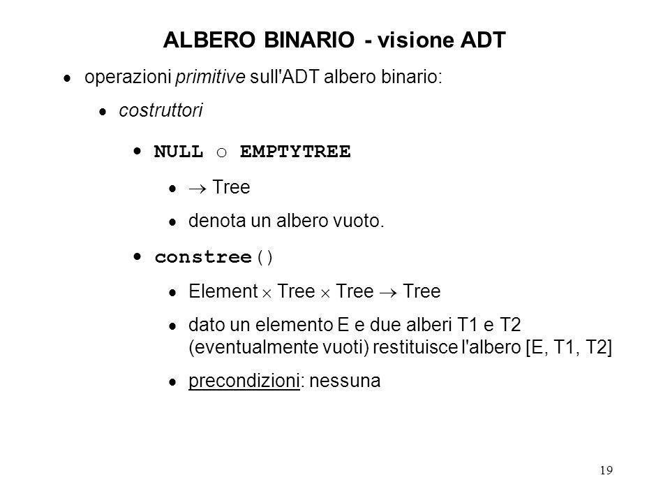 20 ALBERO BINARIO - visione ADT operazioni primitive sull ADT albero binario (continua): predicati emptyt() Tree BOOLEAN dato un albero T, restituisce TRUE o FALSE a seconda che T sia o meno vuoto precondizioni: nessuna selettori root() Tree Element dato un albero non vuoto T=[E, T1, T2] ne restituisce l elemento radice E precondizioni: !emptyt(T)