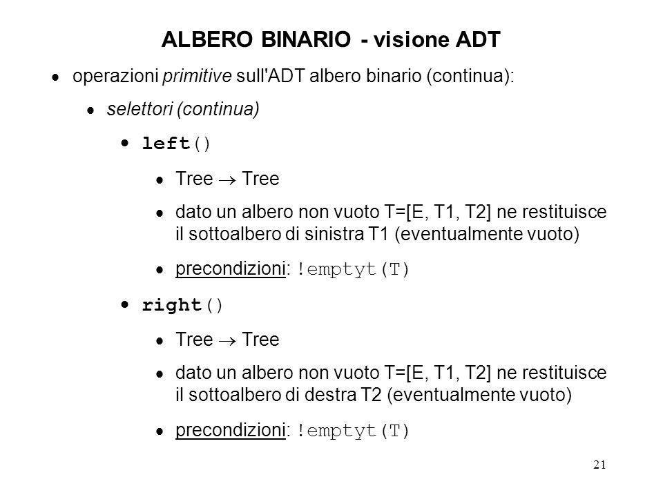 22 ALBERO BINARIO - visione ADT assiomi 1.emptyt(EMPTYTREE) o emptyt(NULL) 2.