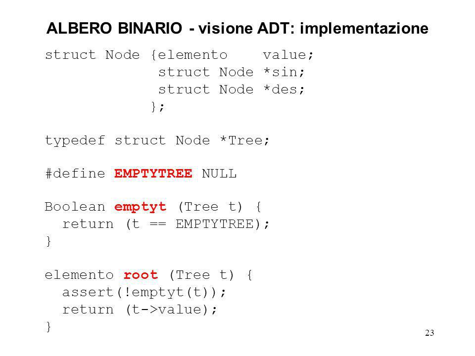 23 ALBERO BINARIO - visione ADT: implementazione struct Node {elemento value; struct Node *sin; struct Node *des; }; typedef struct Node *Tree; #defin