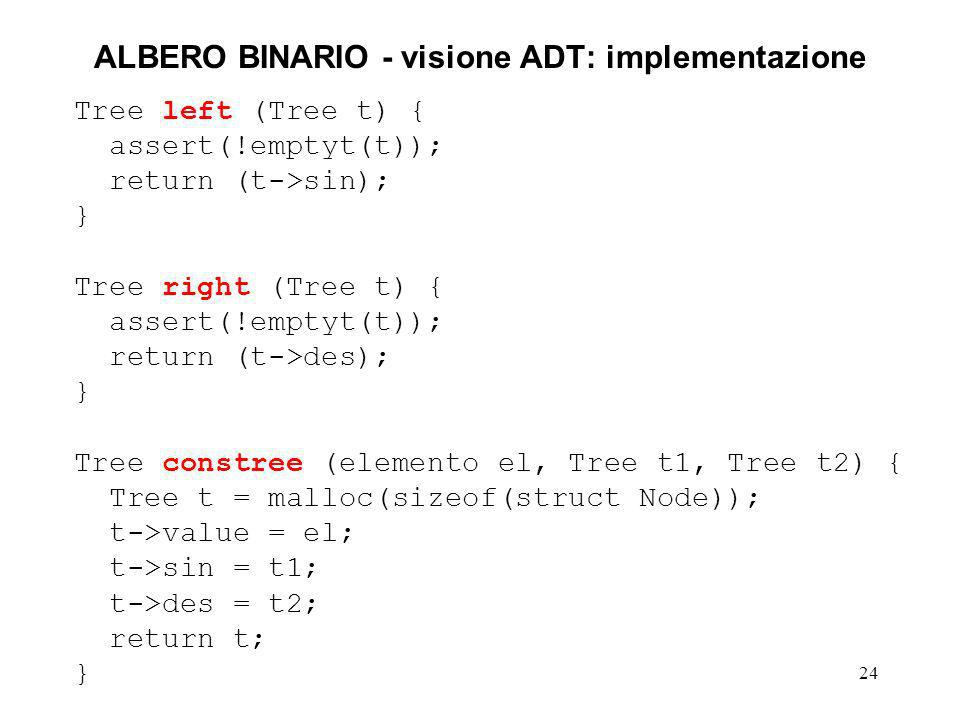 24 ALBERO BINARIO - visione ADT: implementazione Tree left (Tree t) { assert(!emptyt(t)); return (t->sin); } Tree right (Tree t) { assert(!emptyt(t));