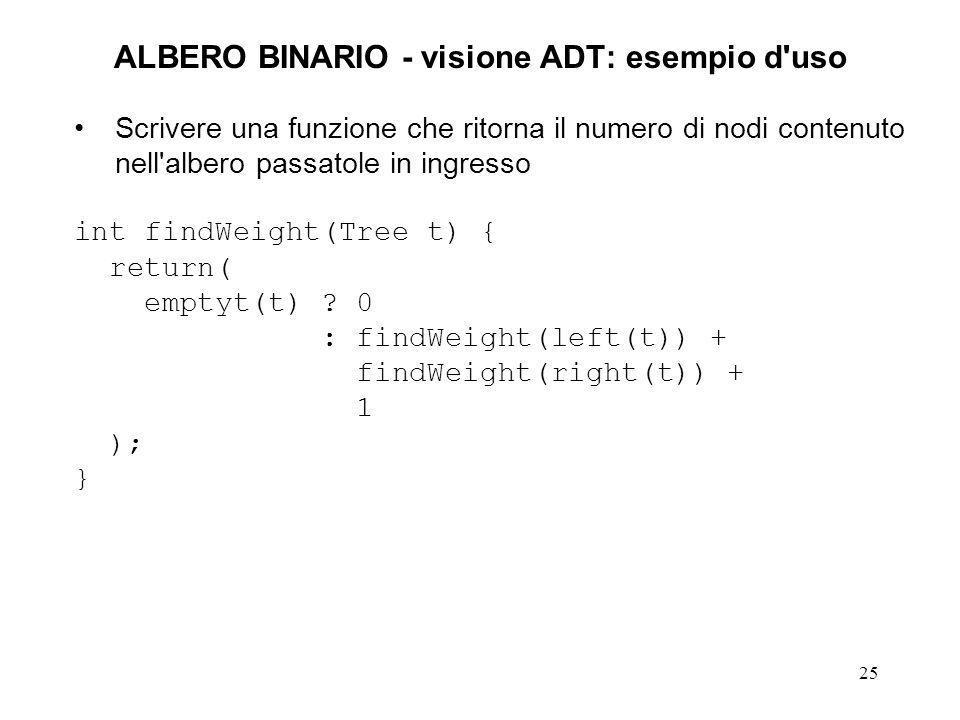 25 ALBERO BINARIO - visione ADT: esempio d uso Scrivere una funzione che ritorna il numero di nodi contenuto nell albero passatole in ingresso int findWeight(Tree t) { return( emptyt(t) .