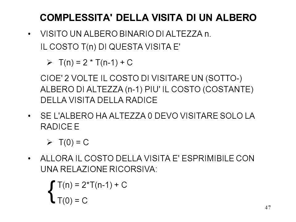 47 COMPLESSITA DELLA VISITA DI UN ALBERO VISITO UN ALBERO BINARIO DI ALTEZZA n.