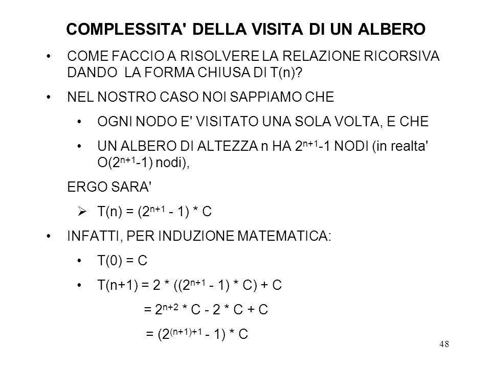 48 COMPLESSITA DELLA VISITA DI UN ALBERO COME FACCIO A RISOLVERE LA RELAZIONE RICORSIVA DANDO LA FORMA CHIUSA DI T(n).