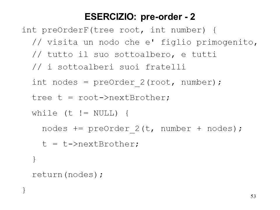 53 ESERCIZIO: pre-order - 2 int preOrderF(tree root, int number) { // visita un nodo che e figlio primogenito, // tutto il suo sottoalbero, e tutti // i sottoalberi suoi fratelli int nodes = preOrder_2(root, number); tree t = root->nextBrother; while (t != NULL) { nodes += preOrder_2(t, number + nodes); t = t->nextBrother; } return(nodes); }