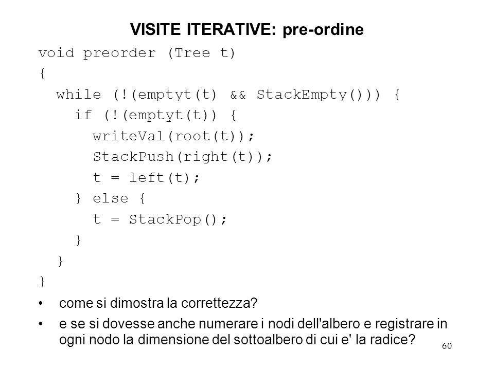 60 VISITE ITERATIVE: pre-ordine void preorder (Tree t) { while (!(emptyt(t) && StackEmpty())) { if (!(emptyt(t)) { writeVal(root(t)); StackPush(right(