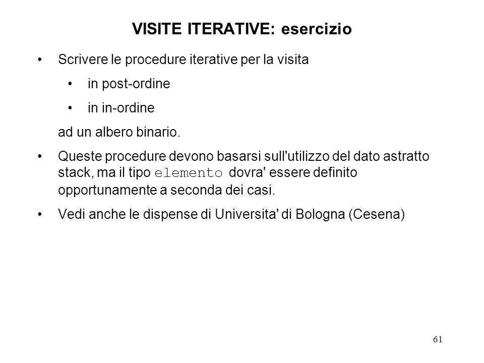 61 VISITE ITERATIVE: esercizio Scrivere le procedure iterative per la visita in post-ordine in in-ordine ad un albero binario.