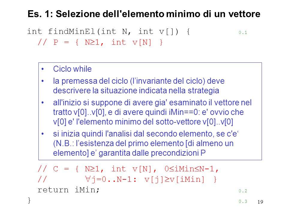 19 int findMinEl(int N, int v[]) { 0.1 // P = { N 1, int v[N] } // C = { N 1, int v[N], 0 iMin N-1, // j=0..N-1: v[j] v[iMin] } return iMin; 0.2 } 0.3 Es.