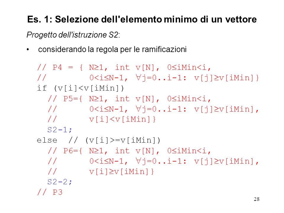 28 Progetto dell istruzione S2: considerando la regola per le ramificazioni // P4 = { N 1, int v[N], 0 iMin<i, // 0<i N-1, j=0..i-1: v[j] v[iMin]} if (v[i]<v[iMin]) // P5={ N 1, int v[N], 0 iMin<i, // 0<i N-1, j=0..i-1: v[j] v[iMin], // v[i]<v[iMin]} S2-1; else // (v[i]>=v[iMin]) // P6={ N 1, int v[N], 0 iMin<i, // 0<i N-1, j=0..i-1: v[j] v[iMin], // v[i] v[iMin]} S2-2; // P3 Es.