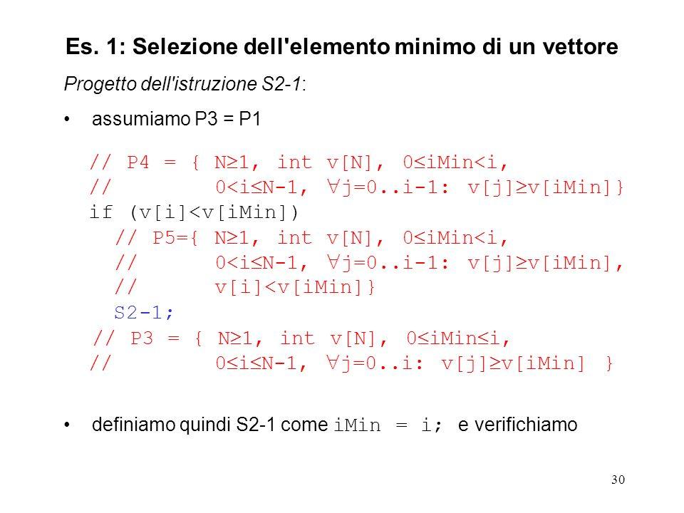 30 Progetto dell istruzione S2-1: assumiamo P3 = P1 // P4 = { N 1, int v[N], 0 iMin<i, // 0<i N-1, j=0..i-1: v[j] v[iMin]} if (v[i]<v[iMin]) // P5={ N 1, int v[N], 0 iMin<i, // 0<i N-1, j=0..i-1: v[j] v[iMin], // v[i]<v[iMin]} S2-1; // P3 = { N 1, int v[N], 0 iMin i, // 0 i N-1, j=0..i: v[j] v[iMin] } definiamo quindi S2-1 come iMin = i; e verifichiamo Es.
