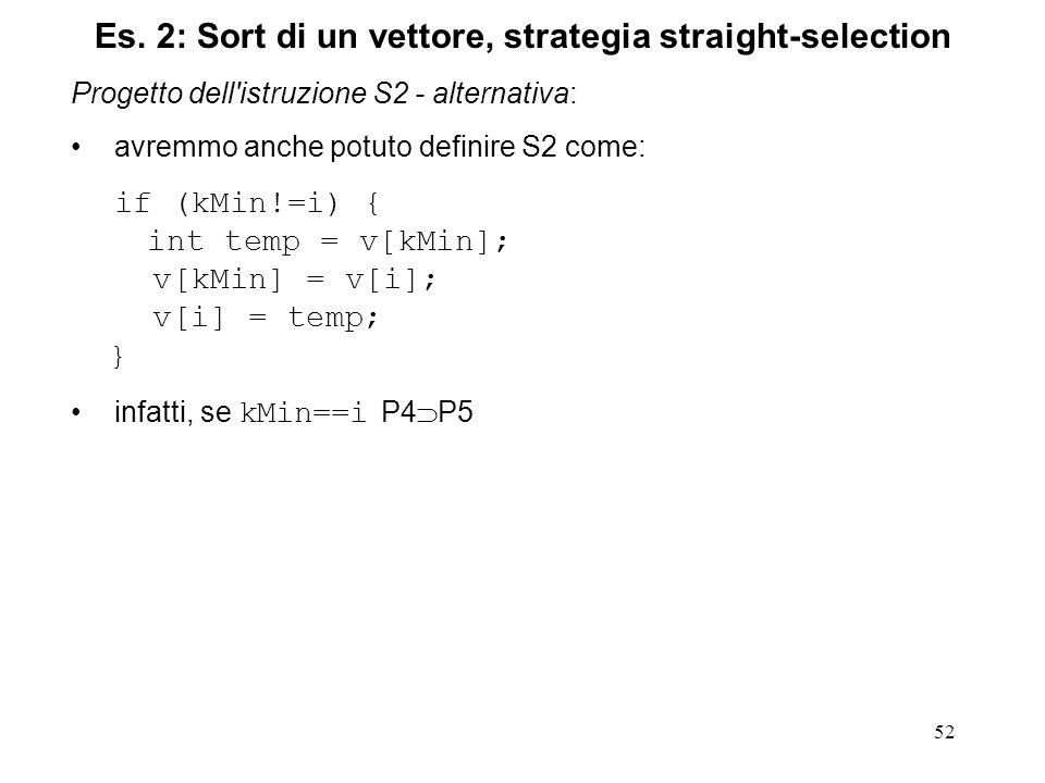 52 Progetto dell istruzione S2 - alternativa: avremmo anche potuto definire S2 come: if (kMin!=i) { int temp = v[kMin]; v[kMin] = v[i]; v[i] = temp; } infatti, se kMin==i P4 P5 Es.