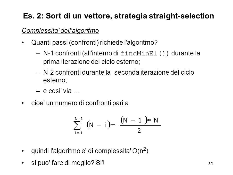 55 Complessita dell algoritmo Quanti passi (confronti) richiede l algoritmo.
