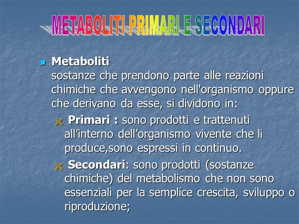 Metaboliti sostanze che prendono parte alle reazioni chimiche che avvengono nell'organismo oppure che derivano da esse, si dividono in: Metaboliti sos