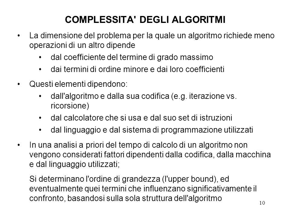 10 COMPLESSITA DEGLI ALGORITMI La dimensione del problema per la quale un algoritmo richiede meno operazioni di un altro dipende dal coefficiente del termine di grado massimo dai termini di ordine minore e dai loro coefficienti Questi elementi dipendono: dall algoritmo e dalla sua codifica (e.g.