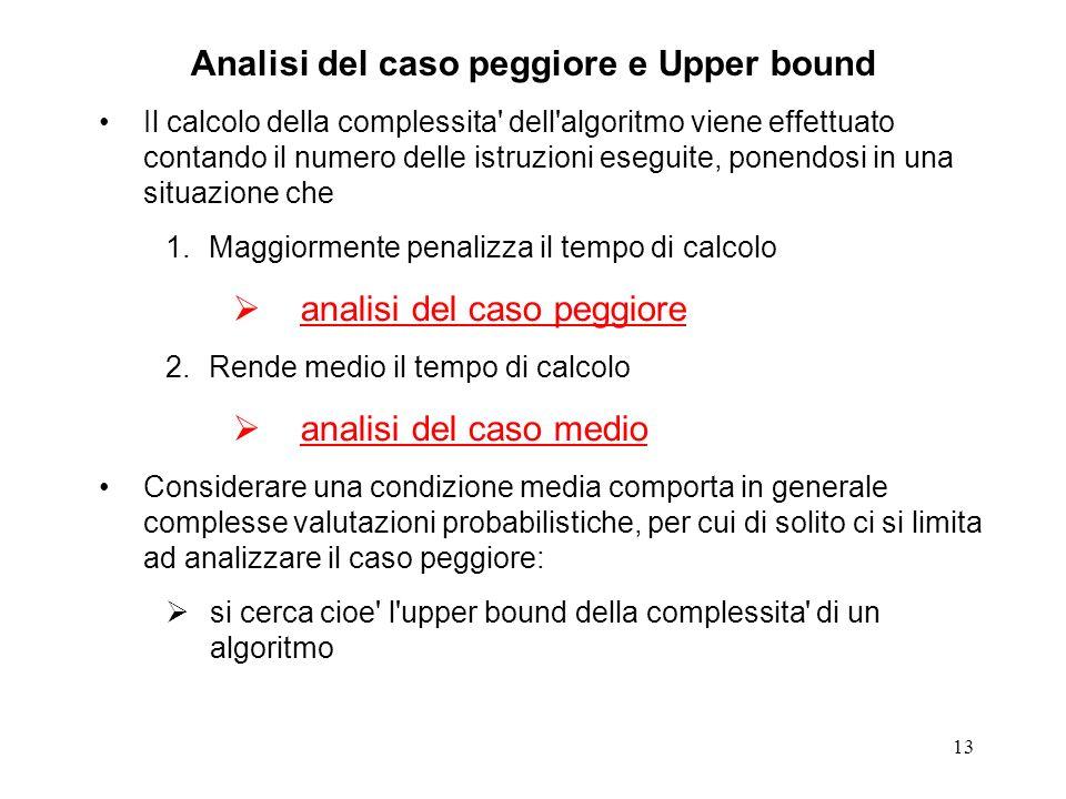 13 Analisi del caso peggiore e Upper bound Il calcolo della complessita' dell'algoritmo viene effettuato contando il numero delle istruzioni eseguite,