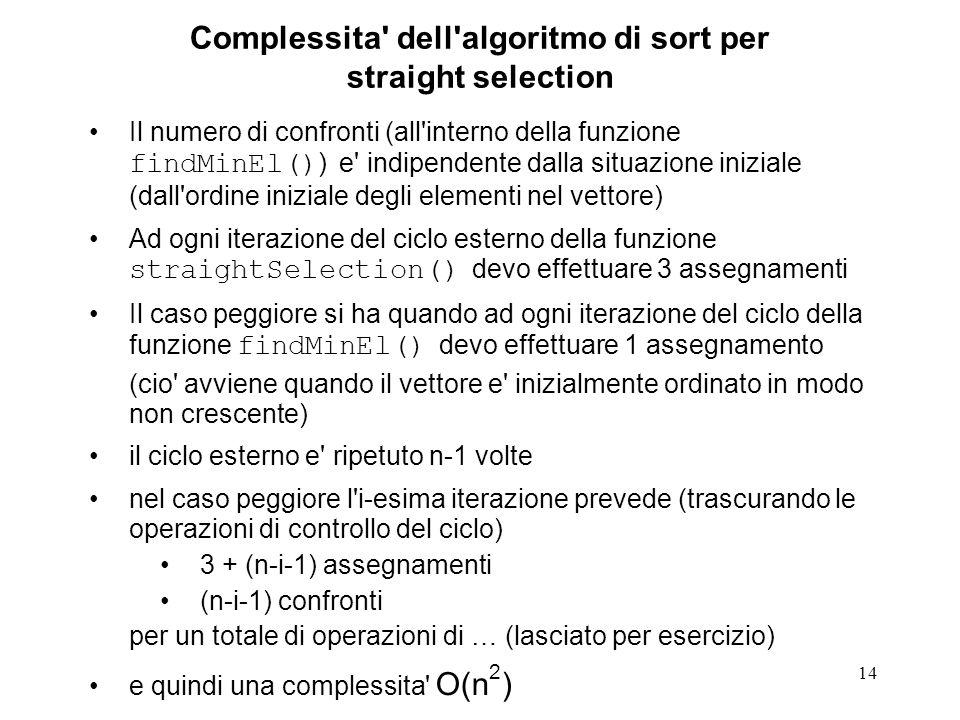 14 Complessita' dell'algoritmo di sort per straight selection Il numero di confronti (all'interno della funzione findMinEl() ) e' indipendente dalla s