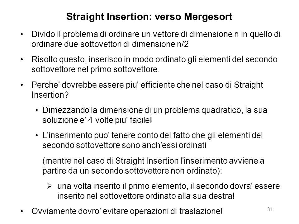 31 Straight Insertion: verso Mergesort Divido il problema di ordinare un vettore di dimensione n in quello di ordinare due sottovettori di dimensione n/2 Risolto questo, inserisco in modo ordinato gli elementi del secondo sottovettore nel primo sottovettore.