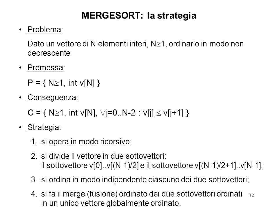 32 MERGESORT: la strategia Problema: Dato un vettore di N elementi interi, N 1, ordinarlo in modo non decrescente Premessa: P = { N 1, int v[N] } Conseguenza: C = { N 1, int v[N], j=0..N-2 : v[j] v[j+1] } Strategia: 1.si opera in modo ricorsivo; 2.si divide il vettore in due sottovettori: il sottovettore v[0]..v[(N-1)/2] e il sottovettore v[(N-1)/2+1]..v[N-1]; 3.si ordina in modo indipendente ciascuno dei due sottovettori; 4.si fa il merge (fusione) ordinato dei due sottovettori ordinati in un unico vettore globalmente ordinato.