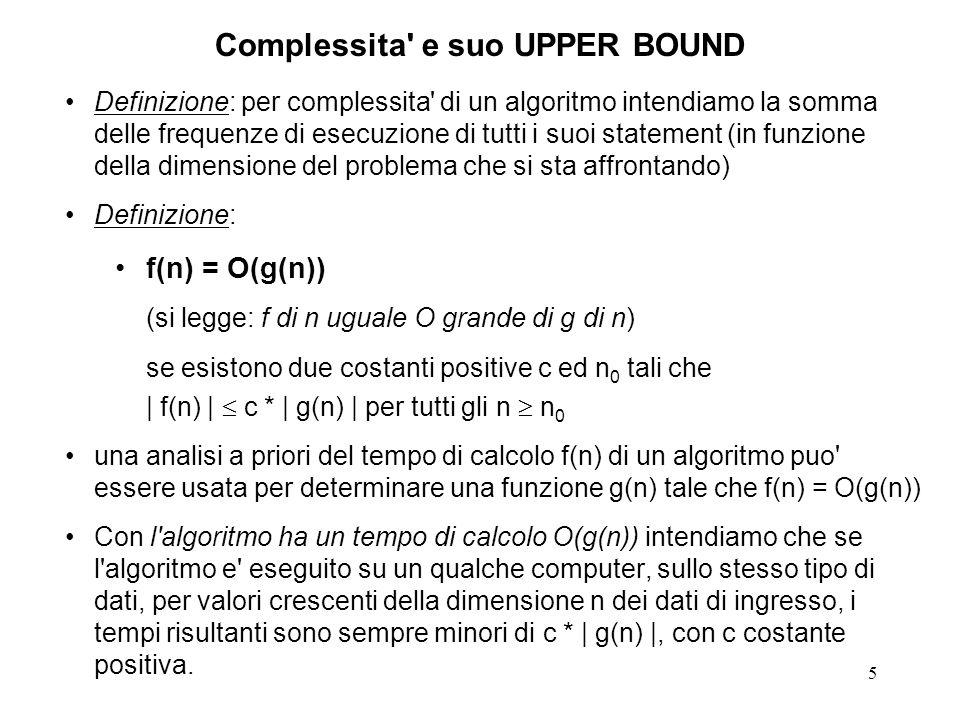 5 Complessita e suo UPPER BOUND Definizione: per complessita di un algoritmo intendiamo la somma delle frequenze di esecuzione di tutti i suoi statement (in funzione della dimensione del problema che si sta affrontando) Definizione: f(n) = O(g(n)) (si legge: f di n uguale O grande di g di n) se esistono due costanti positive c ed n 0 tali che | f(n) | c * | g(n) | per tutti gli n n 0 una analisi a priori del tempo di calcolo f(n) di un algoritmo puo essere usata per determinare una funzione g(n) tale che f(n) = O(g(n)) Con l algoritmo ha un tempo di calcolo O(g(n)) intendiamo che se l algoritmo e eseguito su un qualche computer, sullo stesso tipo di dati, per valori crescenti della dimensione n dei dati di ingresso, i tempi risultanti sono sempre minori di c * | g(n) |, con c costante positiva.