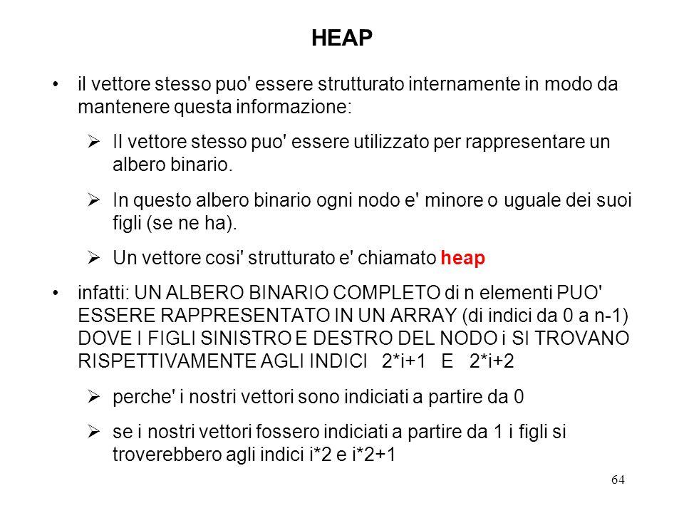 64 HEAP il vettore stesso puo essere strutturato internamente in modo da mantenere questa informazione: Il vettore stesso puo essere utilizzato per rappresentare un albero binario.