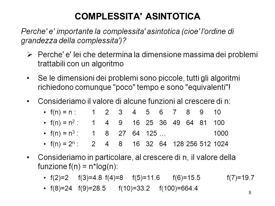 8 COMPLESSITA' ASINTOTICA Perche' e' importante la complessita' asintotica (cioe' l'ordine di grandezza della complessita')? Perche' e' lei che determ