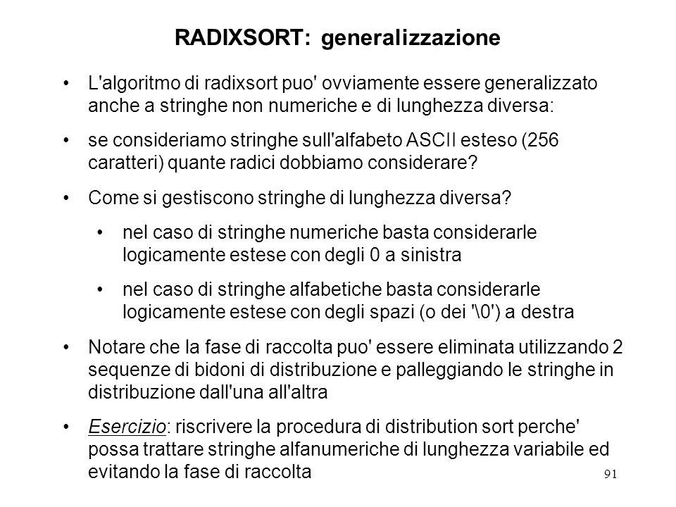 91 RADIXSORT: generalizzazione L algoritmo di radixsort puo ovviamente essere generalizzato anche a stringhe non numeriche e di lunghezza diversa: se consideriamo stringhe sull alfabeto ASCII esteso (256 caratteri) quante radici dobbiamo considerare.