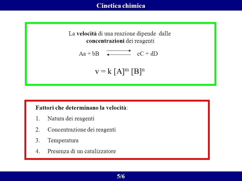 6/6 Cinetica chimica urto fra reagenti formazione del complesso attivato prodotti Tempo in cui la concentrazione di una specie si riduce a 1/2 del suo valore iniziale: [A] t1/2 = [A] 0 /2 Tempo di dimezzamento legato alla costante di velocità da: t 1/2 = ln2/k
