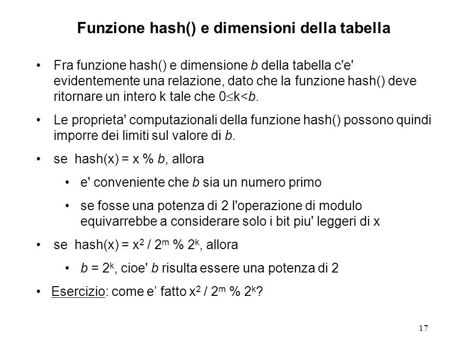 17 Funzione hash() e dimensioni della tabella Fra funzione hash() e dimensione b della tabella c e evidentemente una relazione, dato che la funzione hash() deve ritornare un intero k tale che 0 k<b.