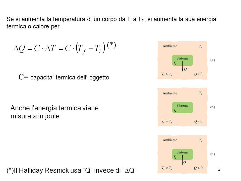 2 Se si aumenta la temperatura di un corpo da T i a T f, si aumenta la sua energia termica o calore per C= capacita termica dell oggetto Anche lenergia termica viene misurata in joule (*)Il Halliday Resnick usa Q invece di Q (*)