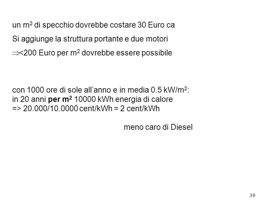 39 un m 2 di specchio dovrebbe costare 30 Euro ca Si aggiunge la struttura portante e due motori <200 Euro per m 2 dovrebbe essere possibile con 1000 ore di sole allanno e in media 0.5 kW/m 2 : in 20 anni per m 2 10000 kWh energia di calore => 20.000/10.0000 cent/kWh = 2 cent/kWh meno caro di Diesel