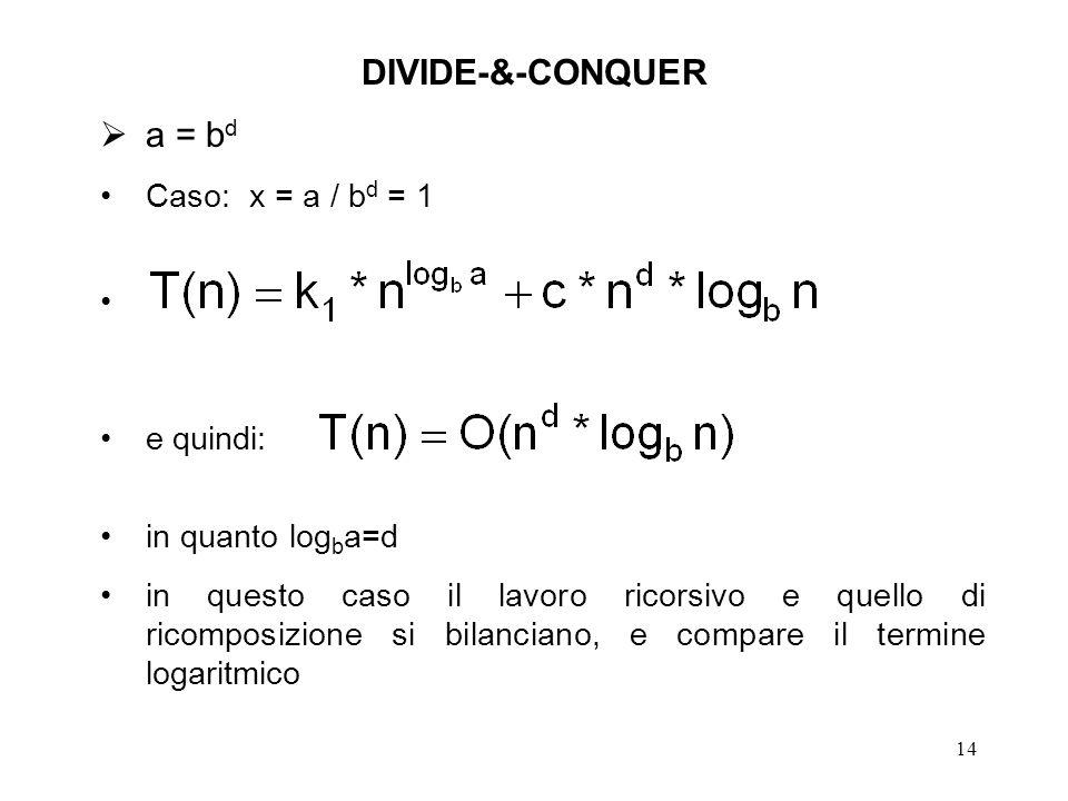 14 DIVIDE-&-CONQUER a = b d Caso: x = a / b d = 1 e quindi: in quanto log b a=d in questo caso il lavoro ricorsivo e quello di ricomposizione si bilanciano, e compare il termine logaritmico