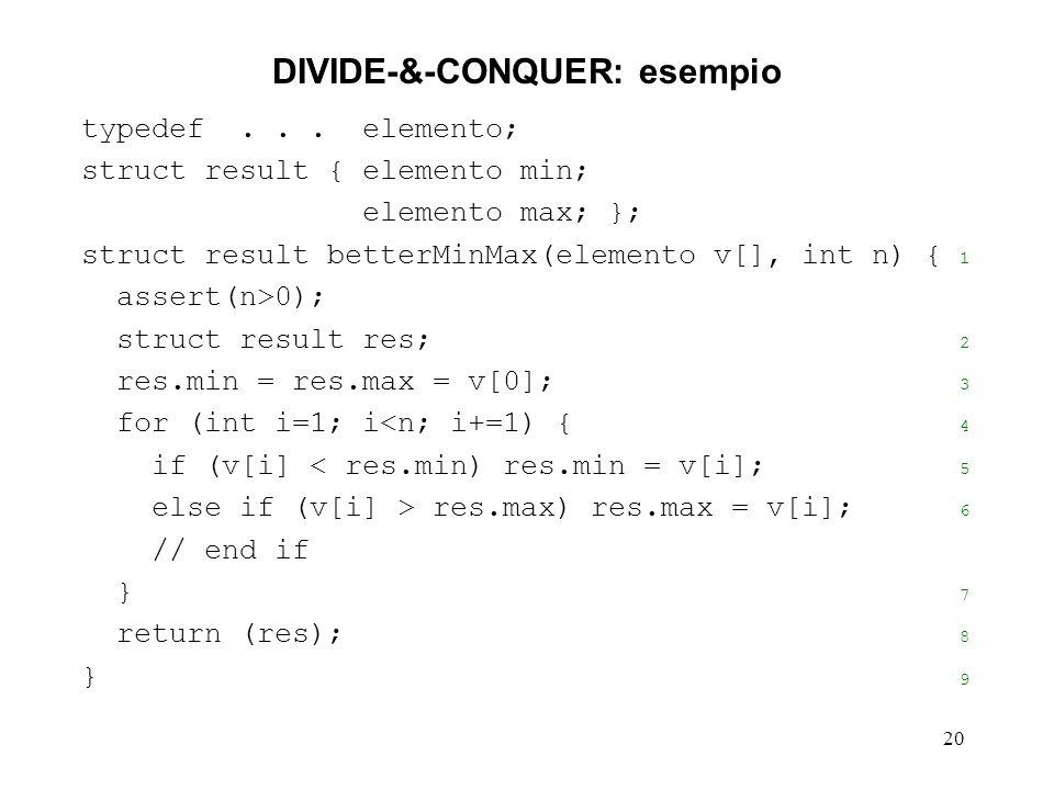 20 DIVIDE-&-CONQUER: esempio typedef...
