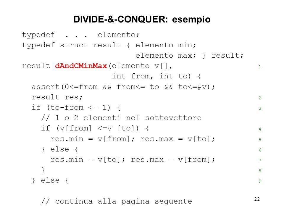 22 DIVIDE-&-CONQUER: esempio typedef...