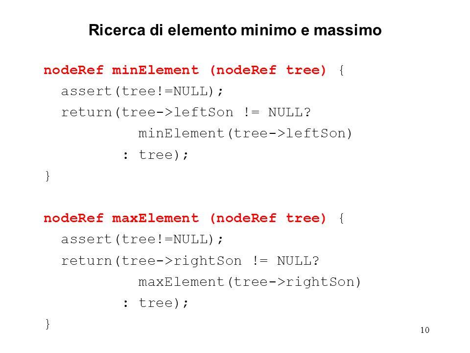 10 Ricerca di elemento minimo e massimo nodeRef minElement (nodeRef tree) { assert(tree!=NULL); return(tree->leftSon != NULL.