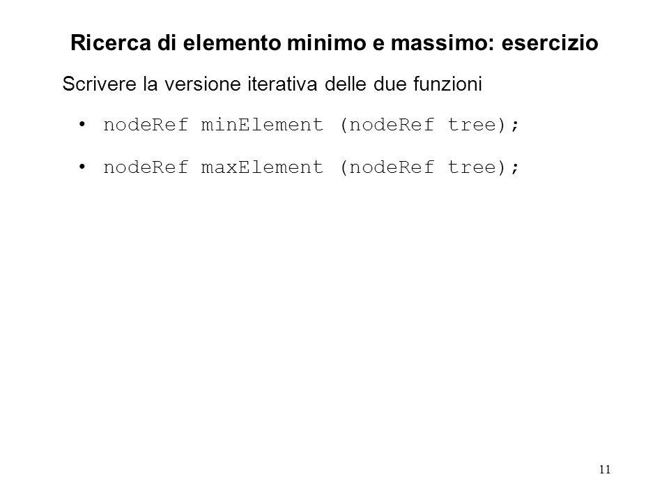 11 Ricerca di elemento minimo e massimo: esercizio Scrivere la versione iterativa delle due funzioni nodeRef minElement (nodeRef tree); nodeRef maxElement (nodeRef tree);
