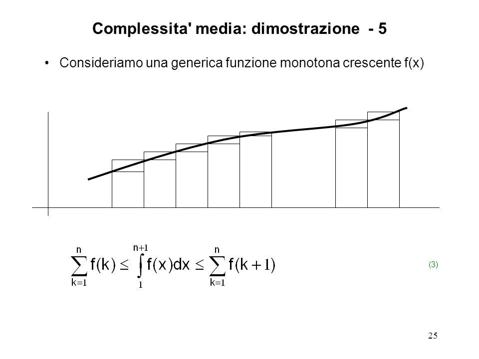 25 Consideriamo una generica funzione monotona crescente f(x) (3) Complessita media: dimostrazione - 5