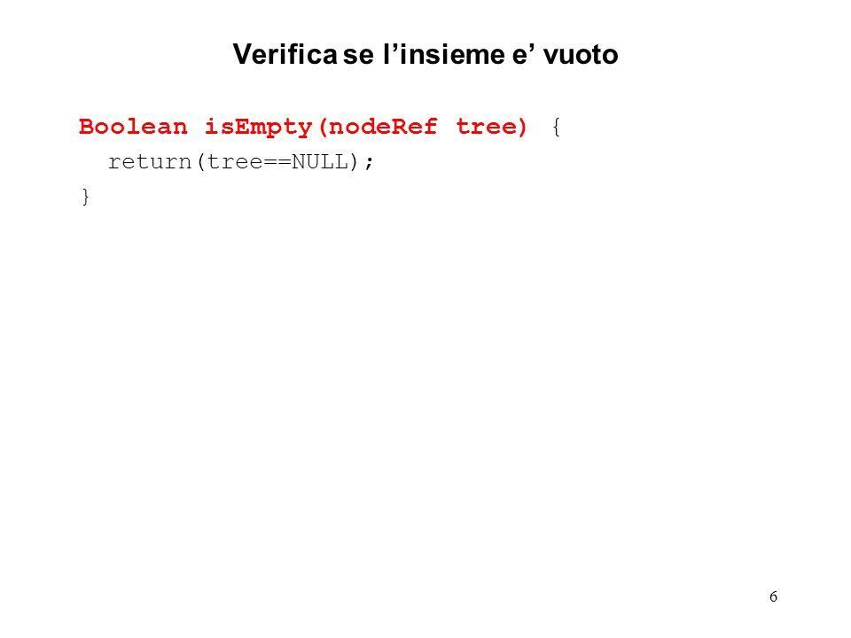7 Ricerca di un elemento nodeRef search (nodeRef tree, elementName el) { // cerca nell insieme rappresentato dal (sotto-) // albero tree l elemento di nome el // ritorna il puntatore al nodo che contiene el // o NULL se l albero non contiene el return(tree==NULL .