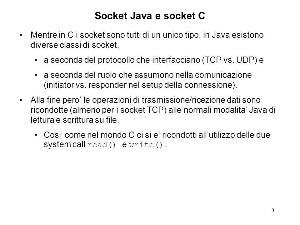 3 Socket Java e socket C Mentre in C i socket sono tutti di un unico tipo, in Java esistono diverse classi di socket, a seconda del protocollo che int