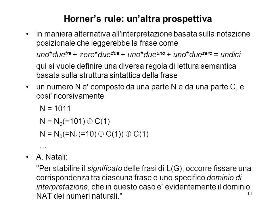 11 Horners rule: unaltra prospettiva in maniera alternativa all'interpretazione basata sulla notazione posizionale che leggerebbe la frase come uno*du